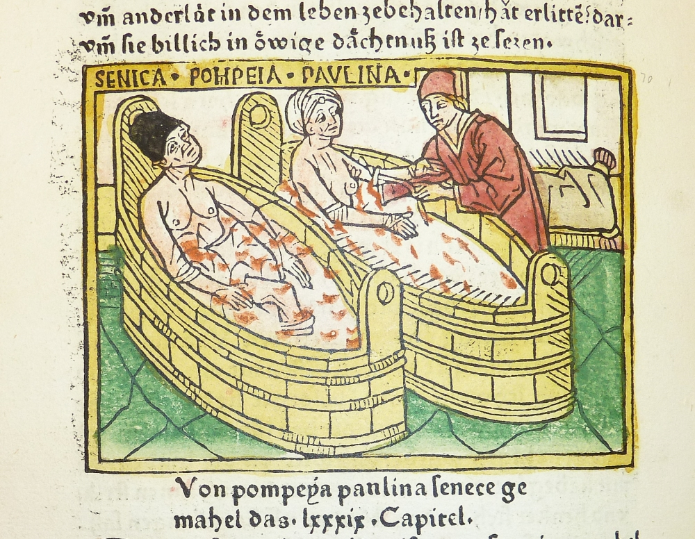"""""""Woodcut illustration of the suicide of Seneca and the attempted suicide of his wife Pompeia Paulina - Penn Provenance Project"""" by kladcat - Woodcut illustration of the suicide of Seneca and the attempted suicide of his wife Pompeia Paulina. Licensed under Creative Commons Attribution 2.0 via Wikimedia Commons - http://commons.wikimedia.org/wiki/File:Woodcut_illustration_of_the_suicide_of_Seneca_and_the_attempted_suicide_of_his_wife_Pompeia_Paulina_-_Penn_Provenance_Project.jpg#mediaviewer/File:Woodcut_illustration_of_the_suicide_of_Seneca_and_the_attempted_suicide_of_his_wife_Pompeia_Paulina_-_Penn_Provenance_Project.jpg"""